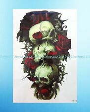 "waterproof fake sugar skull death rose 8.25""extra large temporary arm tattoos"