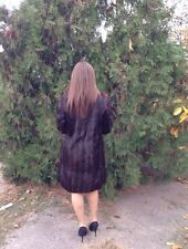 GENUINE DARK BROWN RABBIT FUR COAT KNEE LENGTH MEDIUM SIZE LINED BEAUTIFUL