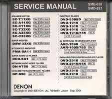 Genuine DENON Service Manuals Cd Series AVC AVR DCD DHT DN DSW DVD GP PMA SC SYS