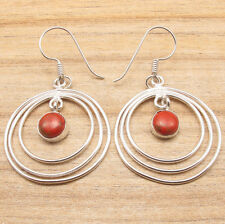 Indian Jewelry Supply ! 925 Silver Plated ORANGE COPPER TURQUOISE CUTE Earrings