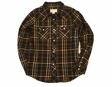 DIESEL Boys 'Never Look Back' Flannel Plaid Shirt Color: Black/Grey/Red Sz:SMALL
