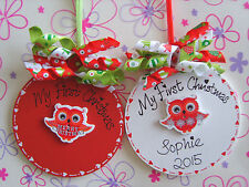 Personalised Handcrafted Wooden Cute Owly Baubles ** My First Christmas 2015 **
