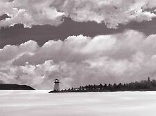OIL PAINTING LIGHTHOUSE BLACK WHITE GREY SEASCAPE PHOTO PRINT POSTER BMP1033A