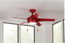 Red Indoor Ceiling Fan s 5-Blades Reversible 44 in. 3-Speed Bowl LED Light New