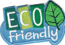 """ECO FRIENDLY""- IRON ON EMBROIDERED PATCH - Earth, World, Universe, Go Green"