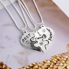 3Pcs Women Best Friends Forever Split Heart Necklace Set Jewelry New Fashion