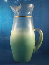 Vintage Frosted Green Iced Tea Pitcher Glass Blendo