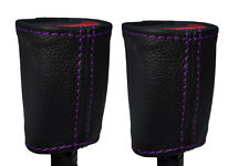 PURPLE STICH 2X FRONT SEAT BELT BUCKLE LEATHER COVERS FOR HOLDEN COMMODORE VR VS