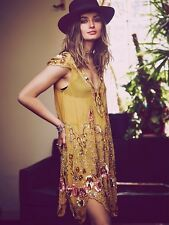 $500 Free People Magic Garden Beaded Party Dress Size S Chartreuse Gold Combo