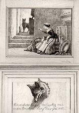 EAU FORTE / Fables de la Fontaine 1883 / LE LOUP, LA MERE ET L'ENFANT