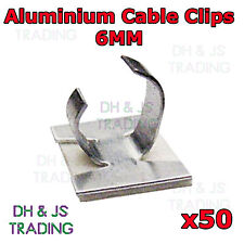 50 x 6mm Aluminium Cable Clips Self Adhesive Cable Clip Wire Sleeving Conduit