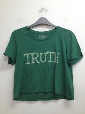 River Island - Green 'Truth Dare' Cropped Top Size Uk 12 (T547)