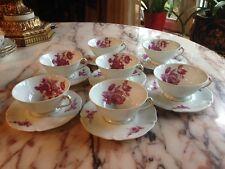 ANCIENNE FABRIQUE ROYALE LIMOGES FRANCE 1737 SET OF 7 TEA CUP & SAUCER FLOWERS