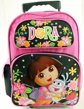 "NEW  Dora Girls Kids  16"" Large Rolling Backpack Bag  School Roller Bag"