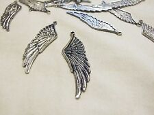 Antique Silver Large Wings 10pcs D6 Steampunk Pendant Charms Vintage Wing Angel