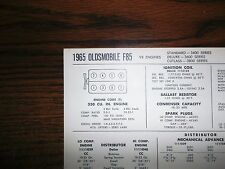 1965 Oldsmobile F85 EIGHT Series Models 330 CI V8 Tune Up Chart