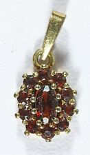 "Vintage CB Signed 14K Yellow Gold Oval Red Ruby 1/2"" Necklace Pendant - 1.0 g"
