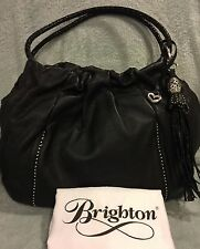 Brighton Extra Large Garbo Pleated Hobo Black Leather Handbag MINT MSRP $320