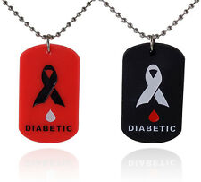 2 Pack - Diabetes Medical Alert Silicone Dog Tag Necklaces Red and Black