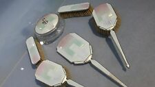R: Stunning Silver & enamel Six piece art deco dressing table set 1936/38