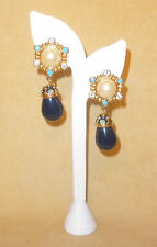 Roman Holiday Earrings w/Pearl Cabochons &  Blue Accents - Jose Barrera for Avon