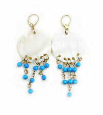 Shell chip and turquoise bead dangle earrings EAR330015