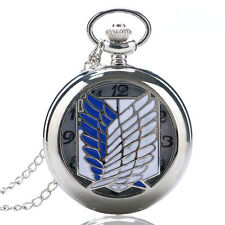Xmas Gift Cosplay Anime Attack on Titan Silver Pocket Watch Necklace Chain New