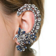 Fashion costume jewelery Ear cuff,Vintage feel,Silver&Blue Crystal,Glamour Party