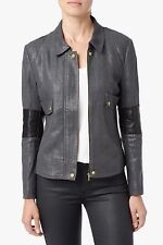 NWT 7 FOR ALL MANKIND SzM LEATHER DETAIL BOMBER JACKET COATED METALLIC CHARCOAL