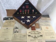 WWII Shadowbox US Army Flag Medals Dog Tags Ephemera Discharge Paper Lot w/ ID