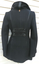 women's MACKAGE wool w/leather black long peacoat coat jacket XS made in Canada