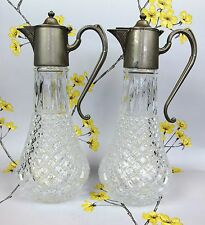 Pair of vintage glass & silver plate WINE ~ WATER PITCHERS. JUG DECANTER CARAFE.