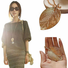 Fashion Golden Leaf Statement Pendant Necklace Long Sweater Chain Womens Jewelry