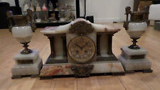 Antique French Agate Veneered 3-Piece Clock and Garniture Set