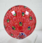 MURANO ART GLASS VINTAGE ROUND RED PEACOCK PAPERWEIGHT FEATHER DESIGN