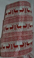 Wired Ribbon~Christmas Buck Deer~Holiday Snowflake~Red~Winter White~Wreath~Bow