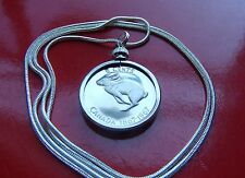 "Bunny Rabbit Coin Bezel Pendant on a 30"" 925 Sterling Silver Snake Chain"