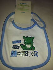 Carter's Mommy's Little Monster Green Dragon dinosaur BIB NWT one size velcro