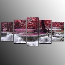 Living Room Canvas Print Red Waterfall Wall Canvas Art Painting-5pcs-No Frame