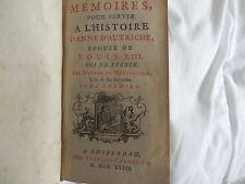 MEMOIRES,POUR SERVIR L'HISTOIRE D'ANNE D'AUTRICHE DE MOTTEVILLE 1723 E.O.