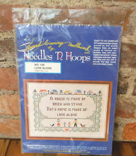"Vintage Stamped Cross Stitch Sampler Kit ""House is Made of Love"" Needles N Hoops"