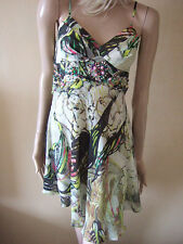 NEW Karen Millen 'Marble' Tropical Chiffon Beaded Jeweled Silk Draped Dress uk 8
