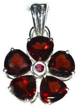 Genuine Garnet Sterling SILVER Pendant, Red Multi Gemstone Birtstone 925 Jewelry