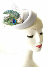 Grey White Green Peacock Feather Pillbox Hat Races Fascinator Headpiece Vtg 1831