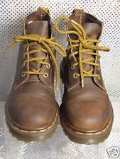 DR MARTENS BROWN LEATHER LACE-UP AIR CUSHIONED SOLES MENS ANKLE BOOTS SZ 5