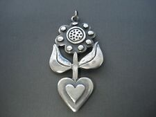 JAMES AVERY VINTAGE RETIRED FLOWER HEART NECKLACE PENDANT #A430