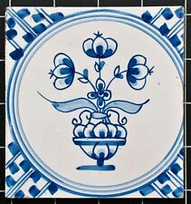 Delft Kachel (Keramische Tegel) - Blumenvase - blau weiß - 18./19.Jh