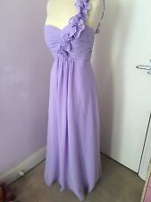 Womens Beautiful Lilac Chiffon Silk Bridesmaid Dress Wedding Party Gown size 12