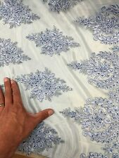 50 in w Hand beaded lace Periwinkle blue Fabric by the yard