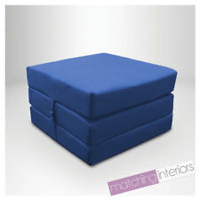 Blue Splashproof Wipe Clean Fold Out Cube Mattress Guest Z Bed Chair Bed Futon